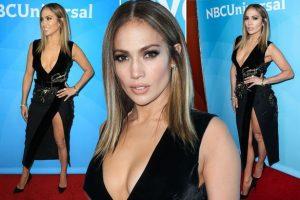 Jennifer Lopez leg bombs in sexy thigh-split black dress as she promotes brand new dance show