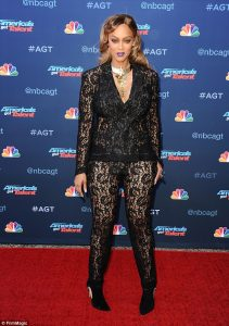 A sheer winner! Tyra Banks wears see-through lace pantsuit as she gears up for her new role as host of America's Got Talent