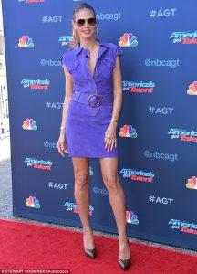 Heidi Klum shows off her long legs in purple mini as Mel B glitters in low-cut jumpsuit at America's Got Talent event